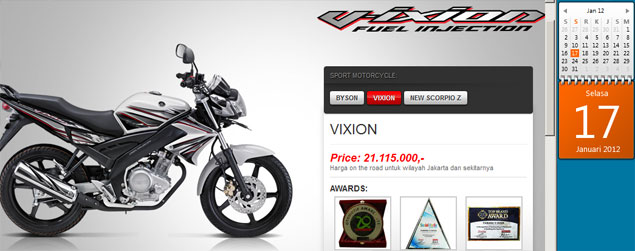 harga yamaha vixion 2012